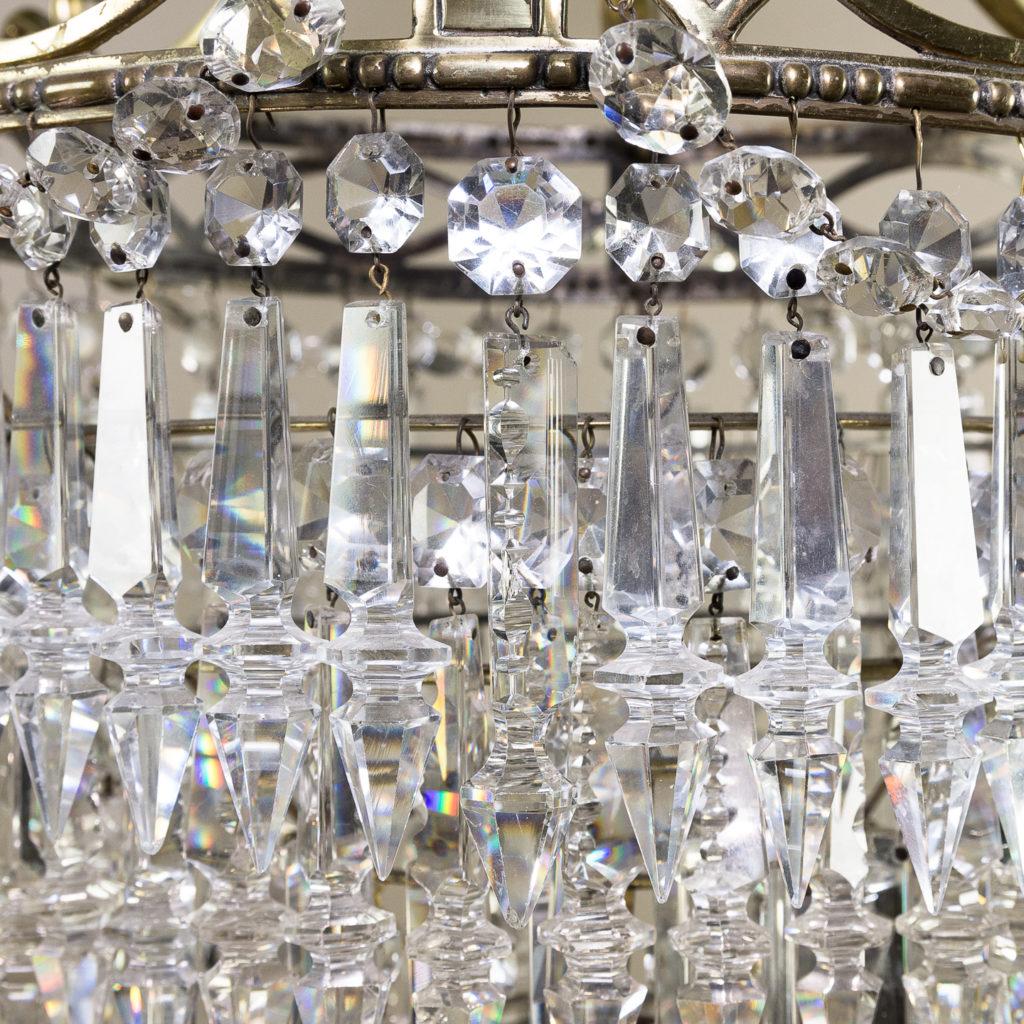 Regency style cut glass and brass waterfall chandelier, -138891
