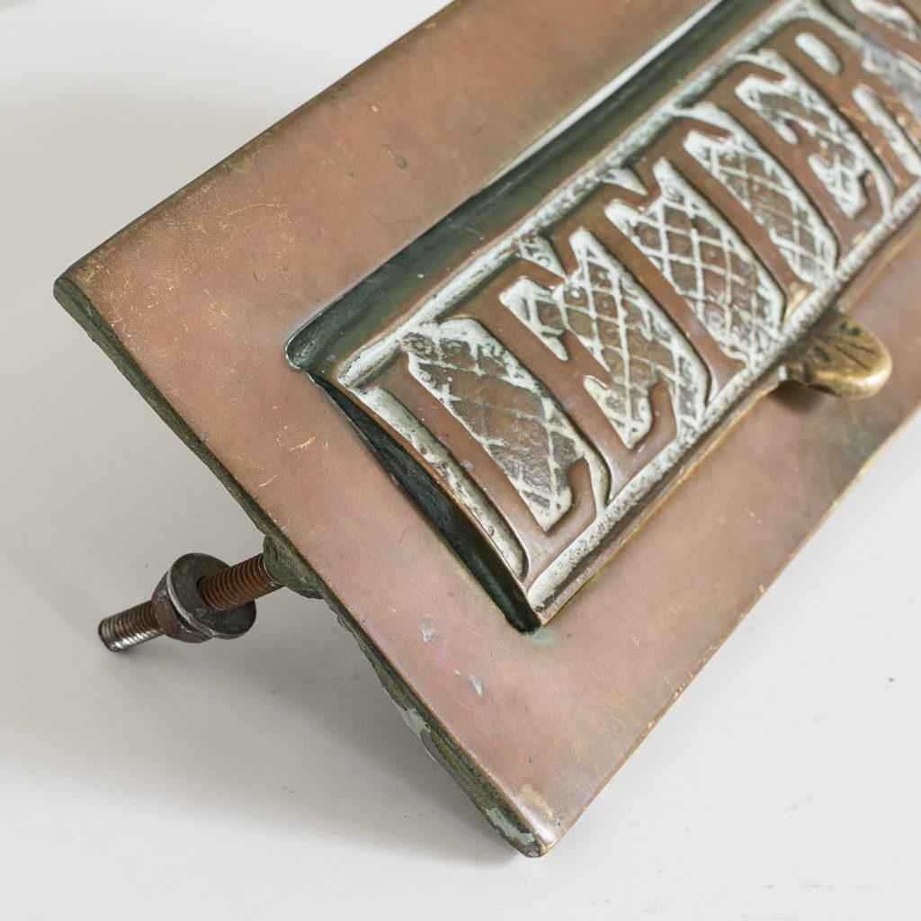 Victorian brass letterplate, -139326
