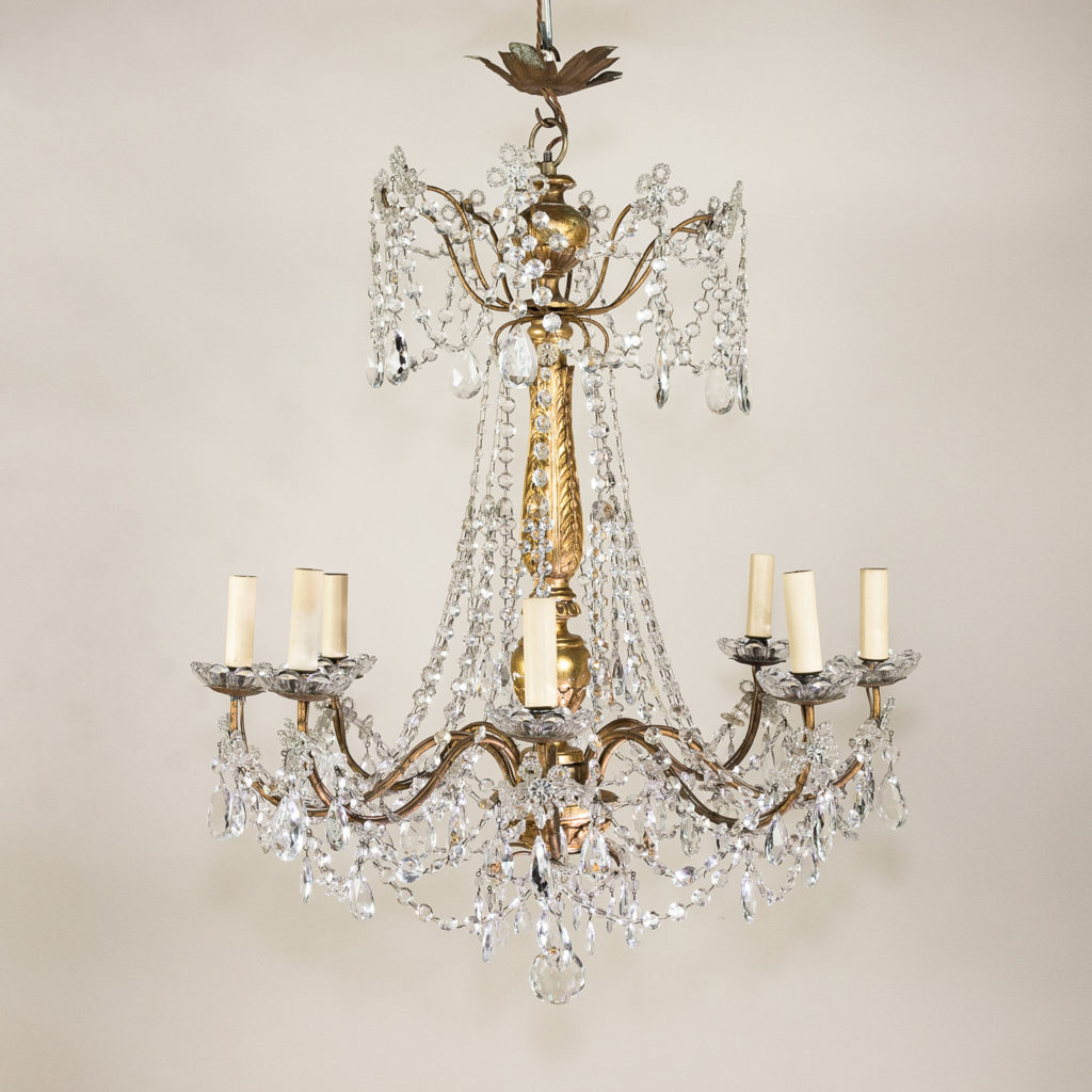 Late nineteenth century Genoese giltwood and glass chandelier,