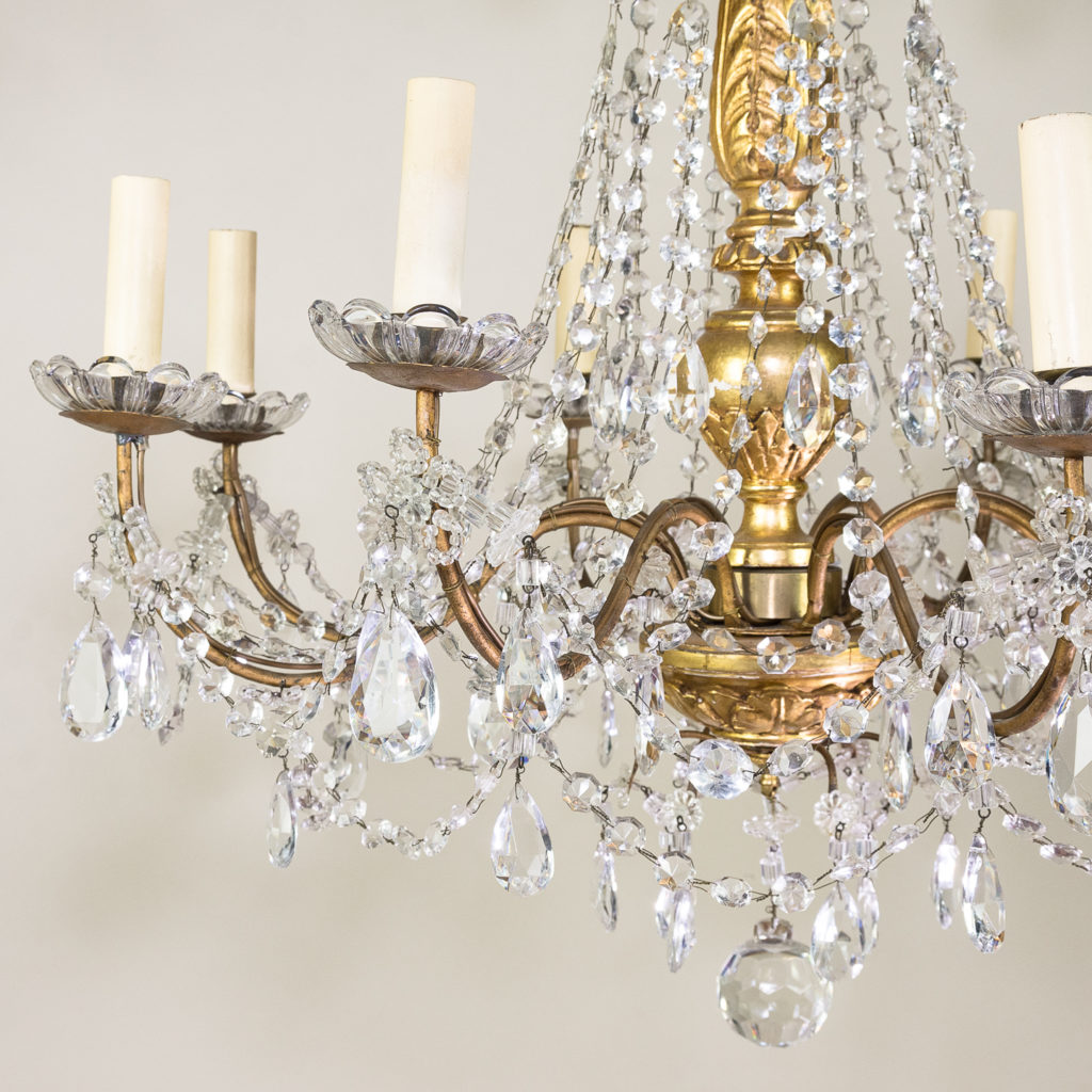 Late nineteenth century Genoese giltwood and glass chandelier, -139309