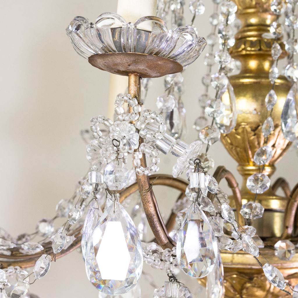 Late nineteenth century Genoese giltwood and glass chandelier, -139312