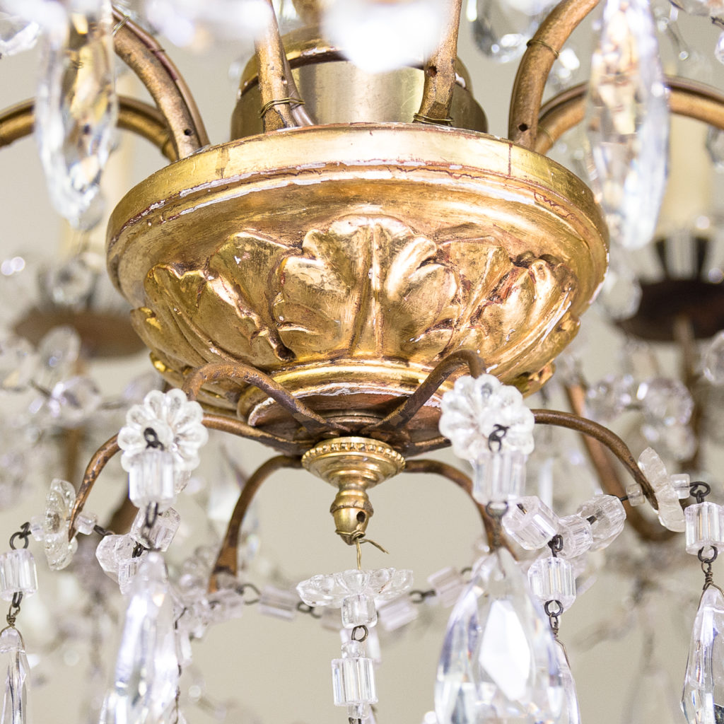 Late nineteenth century Genoese giltwood and glass chandelier, -139313