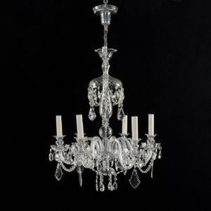 Nineteenth century style six light glass chandelier,