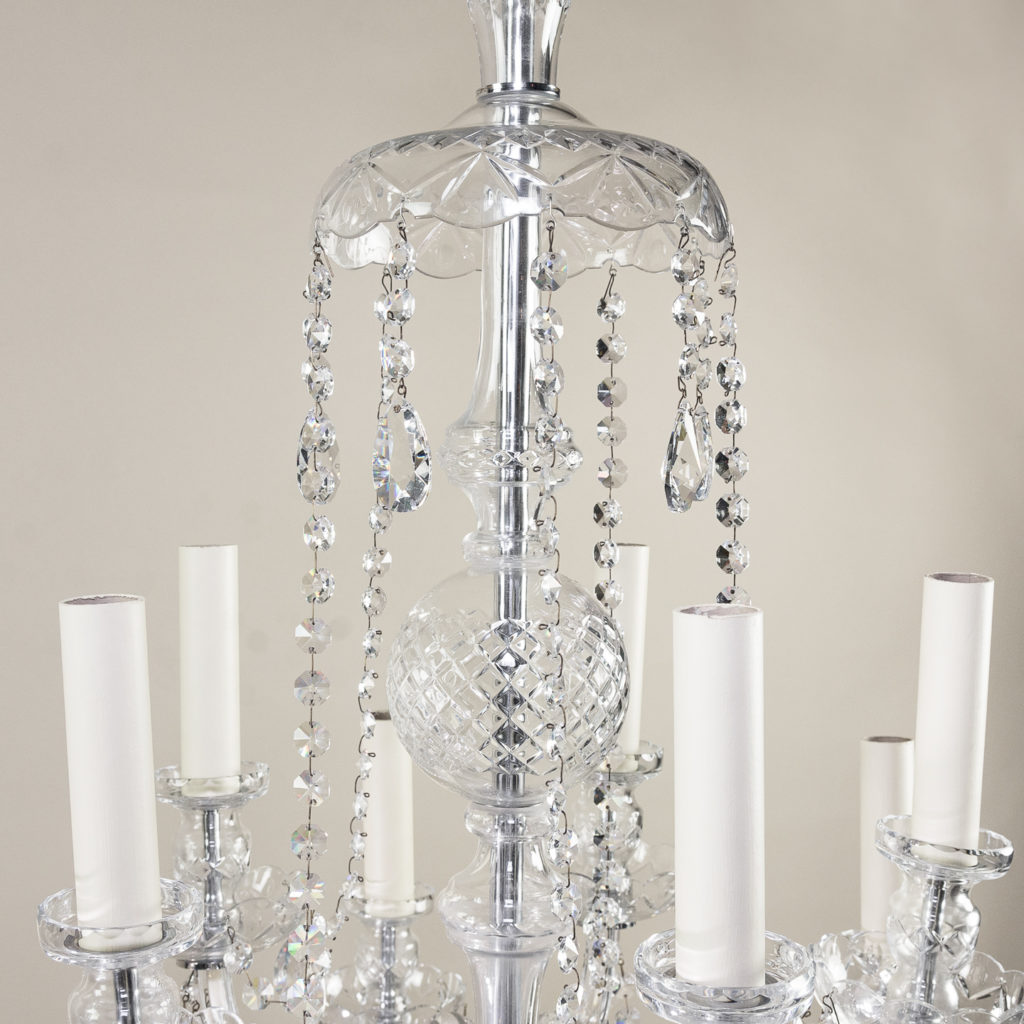 Pair of nineteenth century style ten light glass chandeliers, -138878