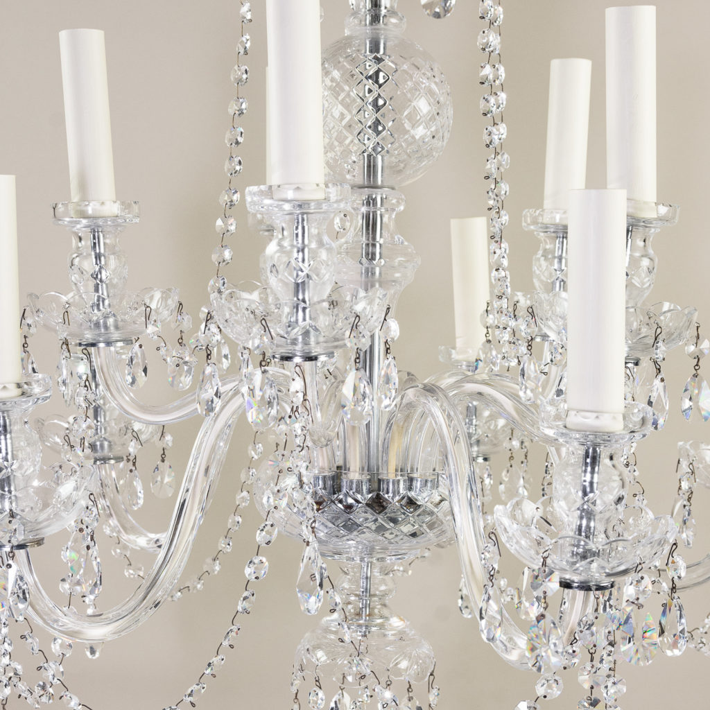 Pair of nineteenth century style ten light glass chandeliers, -138881