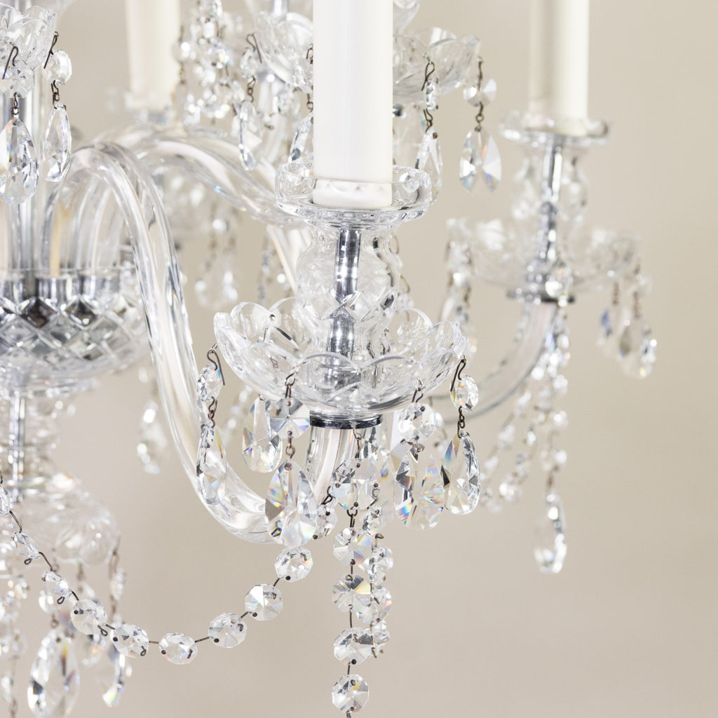 Pair of nineteenth century style ten light glass chandeliers, -138880