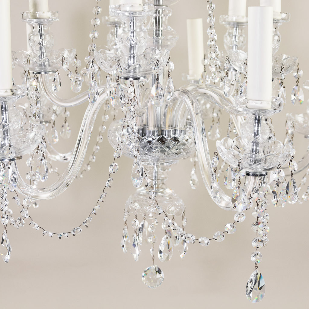 Pair of nineteenth century style ten light glass chandeliers, -138882