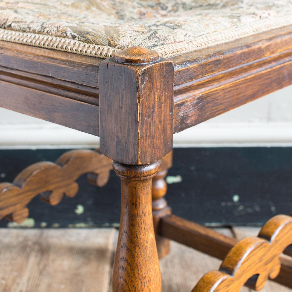Needlepoint upholstered oak stool,-139248