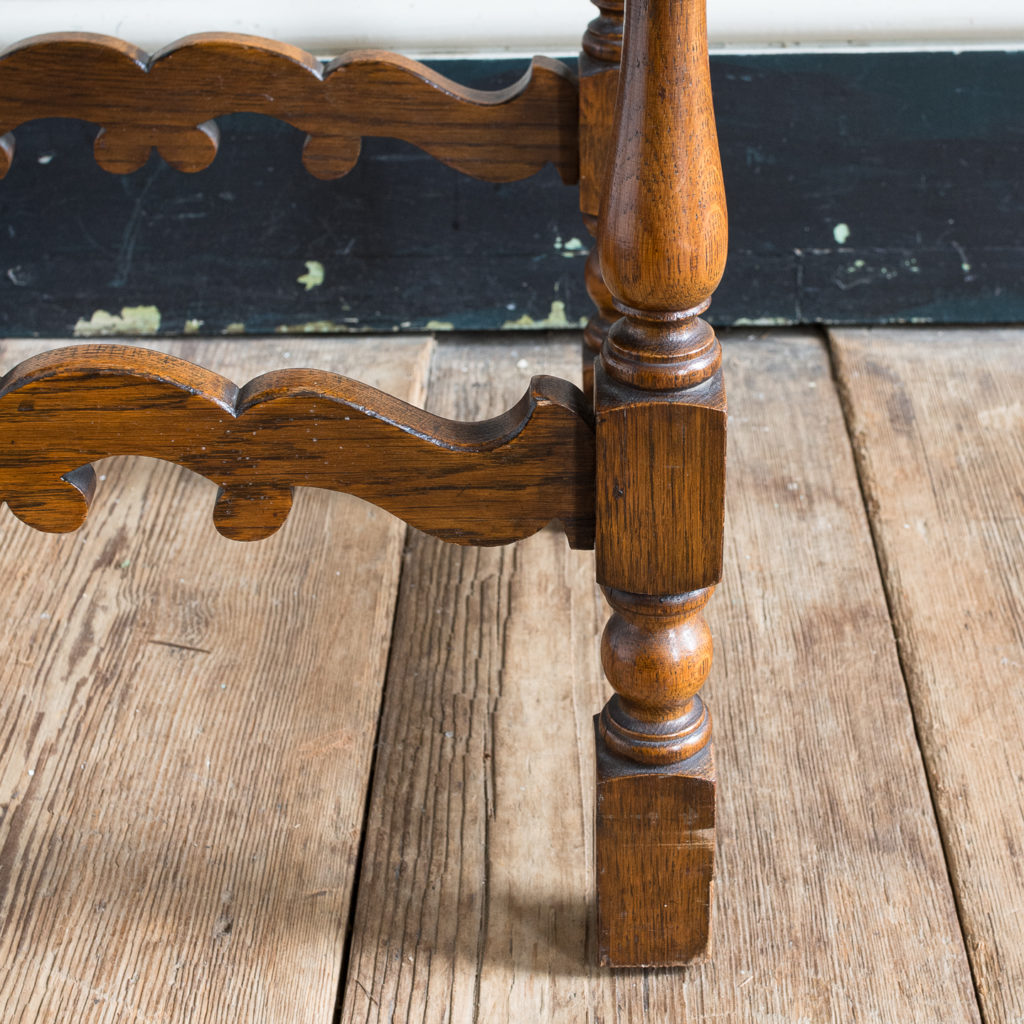 Needlepoint upholstered oak stool,-139249