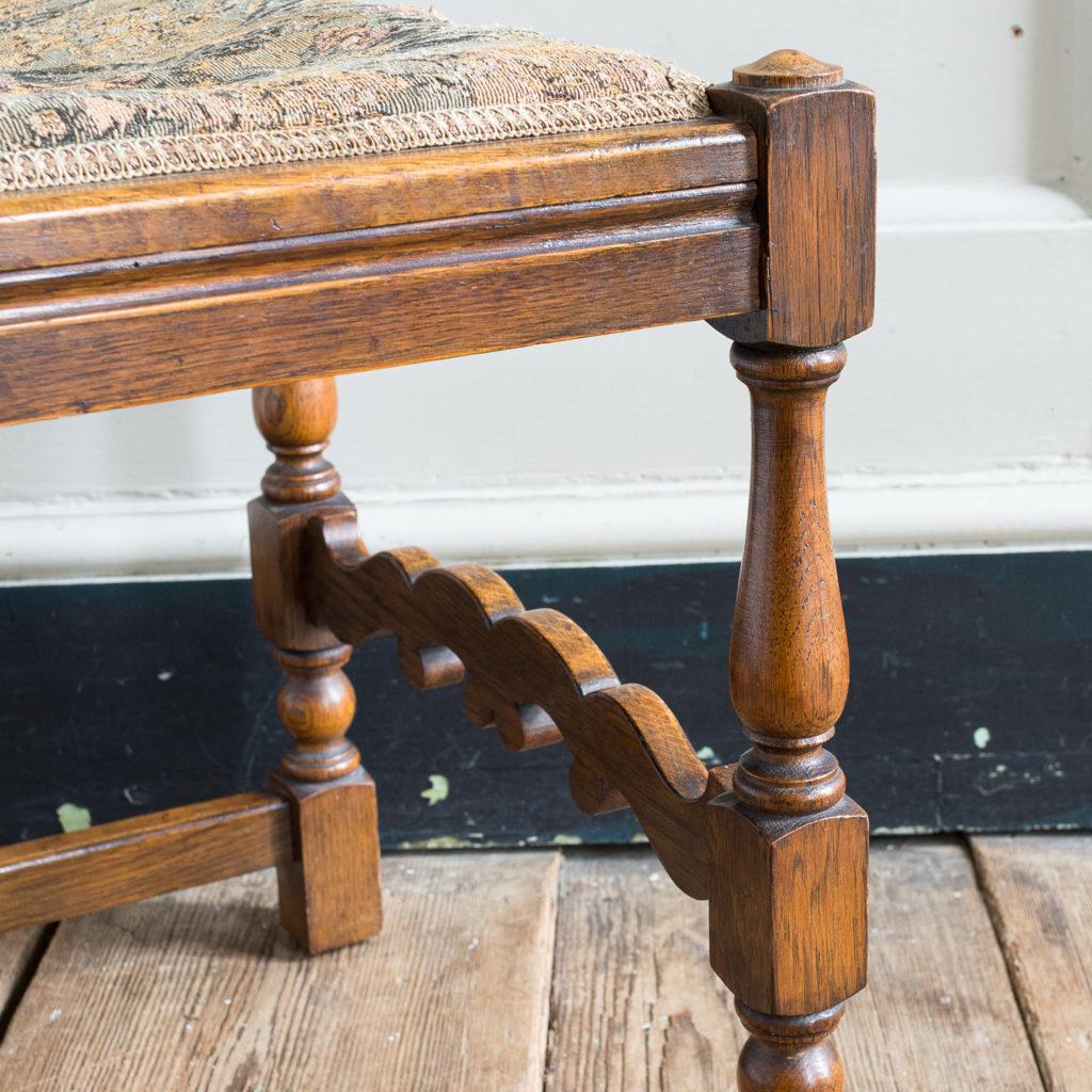 Needlepoint upholstered oak stool,-139250