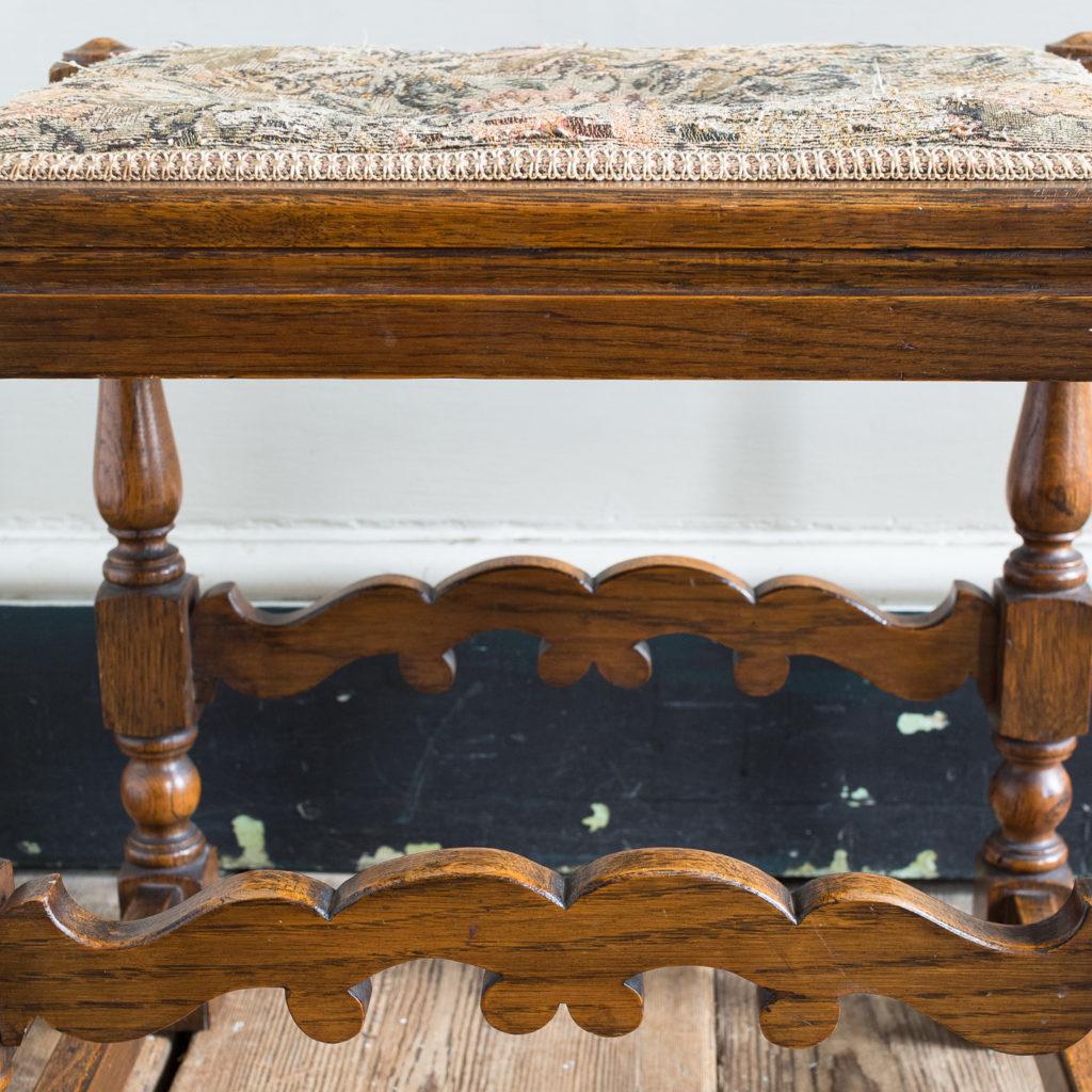Needlepoint upholstered oak stool,-139252