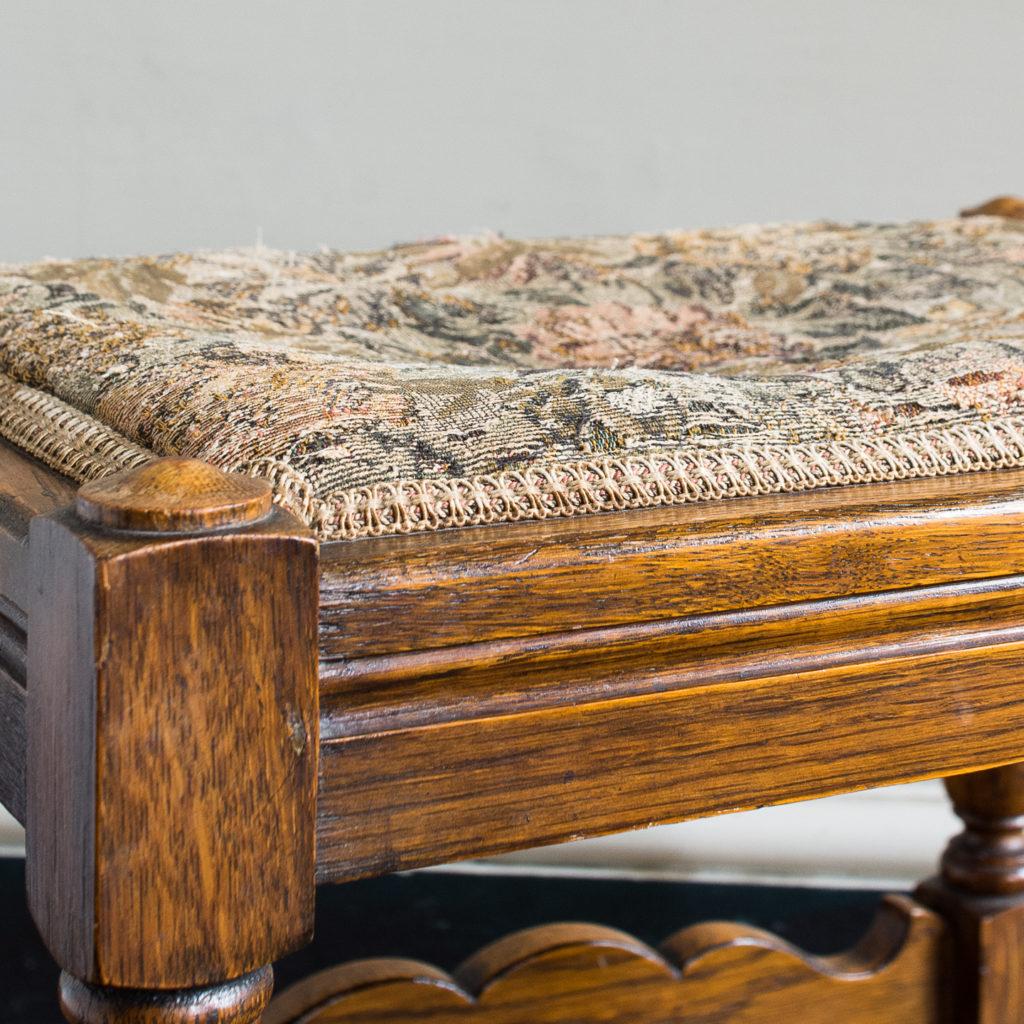Needlepoint upholstered oak stool,-139251