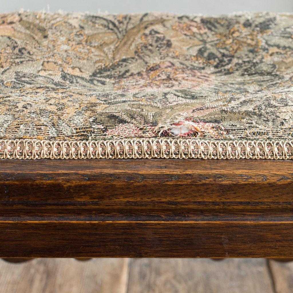 Needlepoint upholstered oak stool,-139253