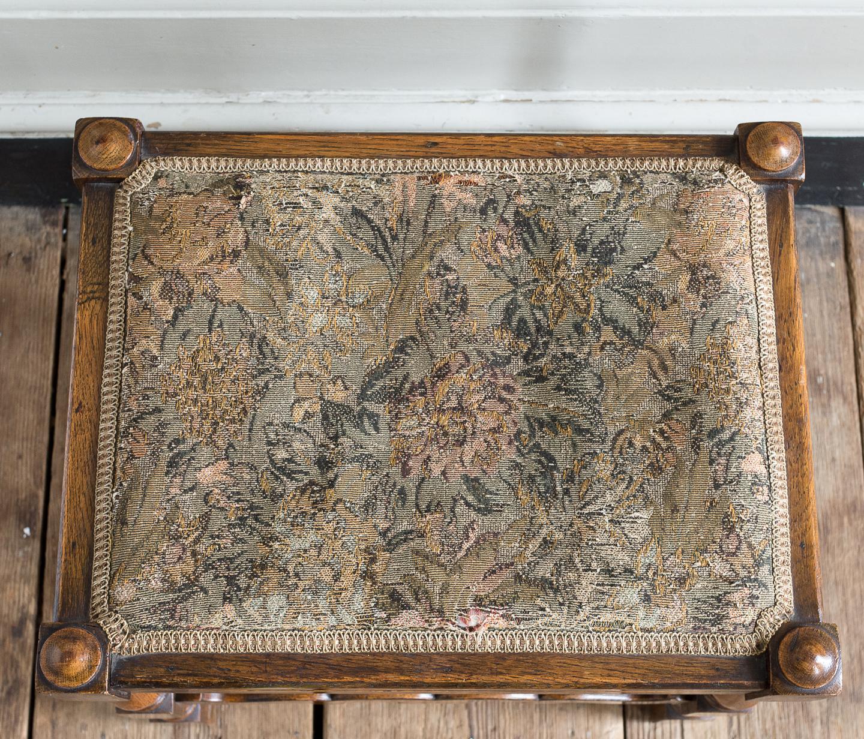 Needlepoint upholstered oak stool,-139239