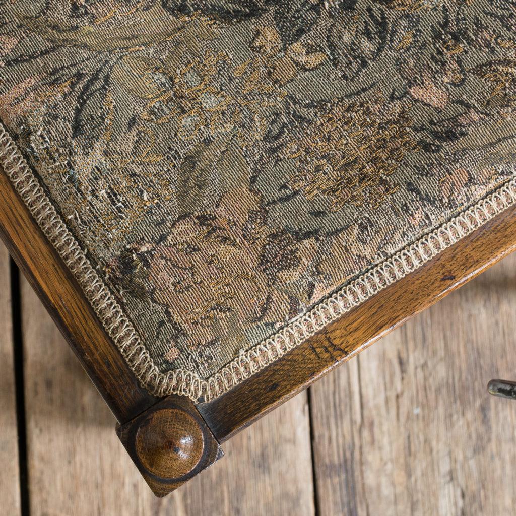 Needlepoint upholstered oak stool,-139241