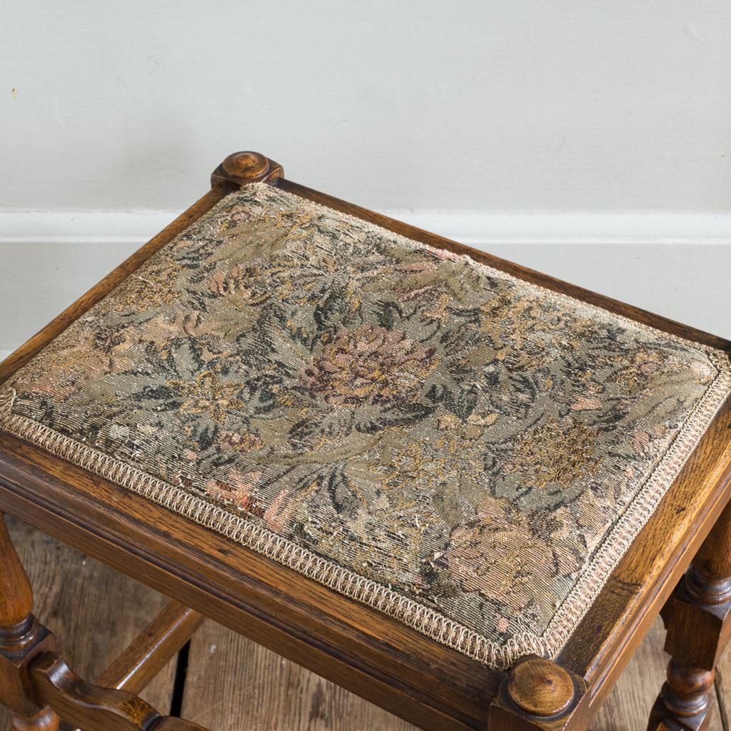 Needlepoint upholstered oak stool,-139242