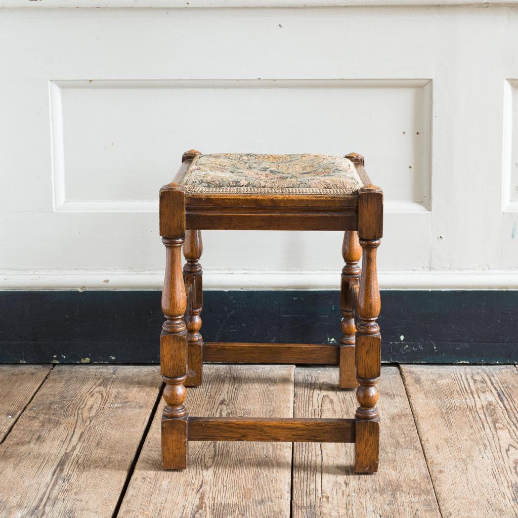 Needlepoint upholstered oak stool,-139245