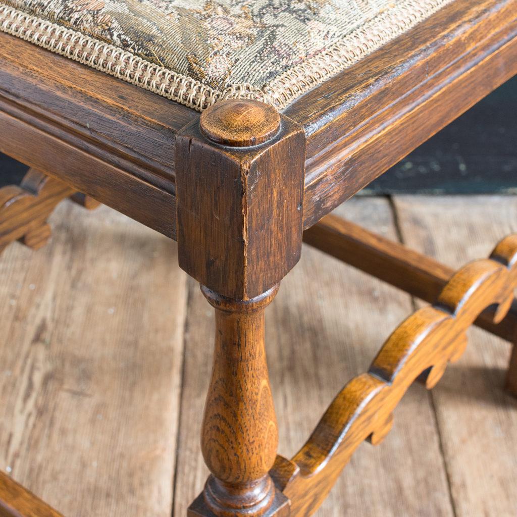 Needlepoint upholstered oak stool,-139247