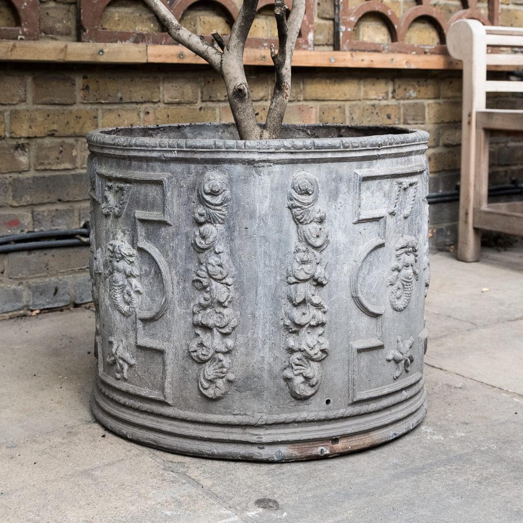 Pair of eighteenth century style lead circular planters,