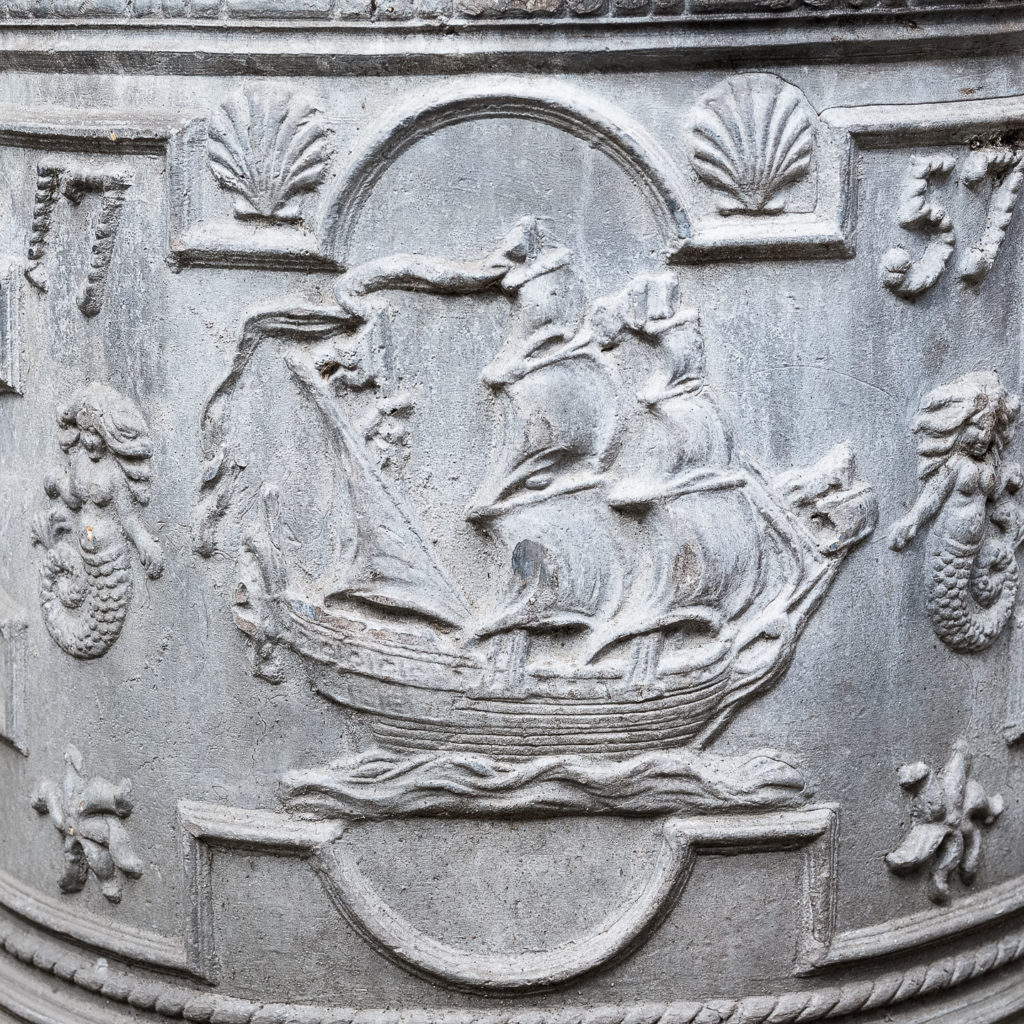 decorated in relief with ships, shells, mermaids and rope motifs,