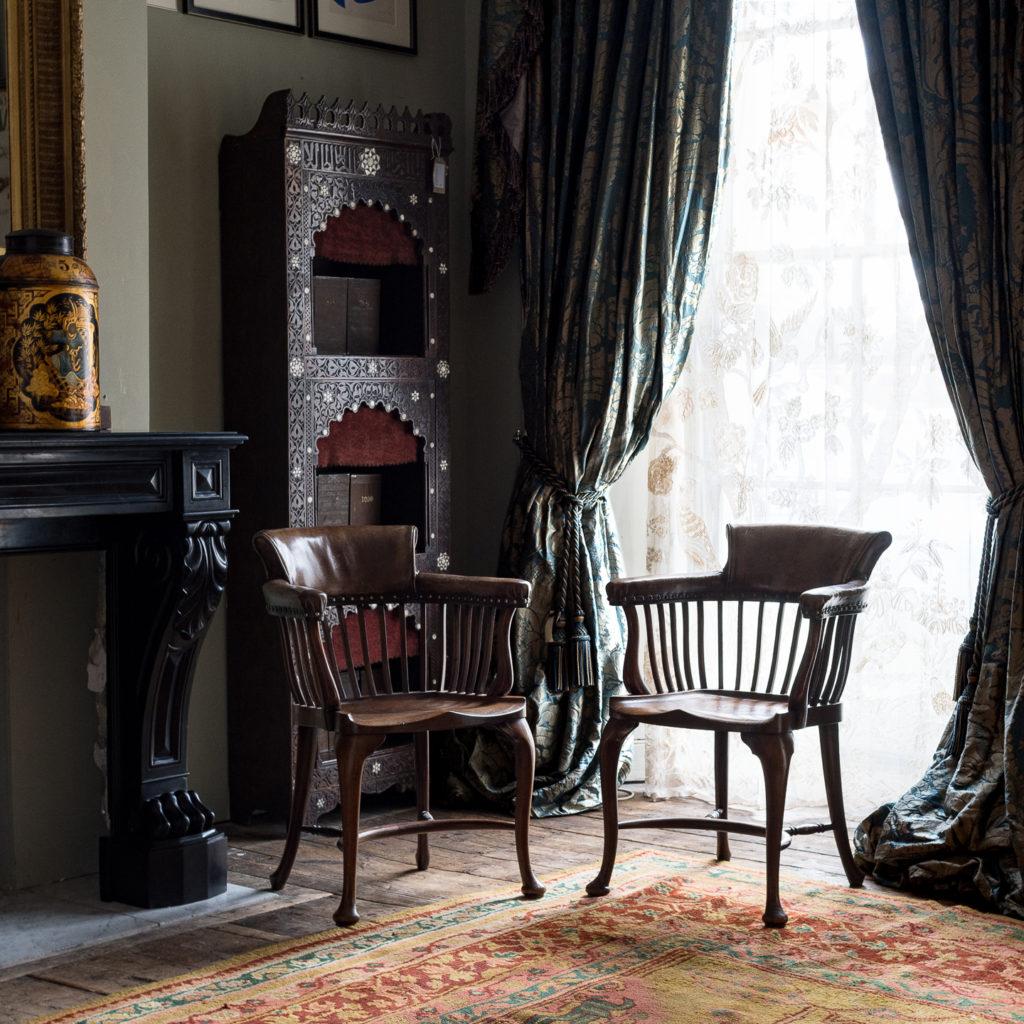 Pair of early twentieth century mahogany library chairs, -138855
