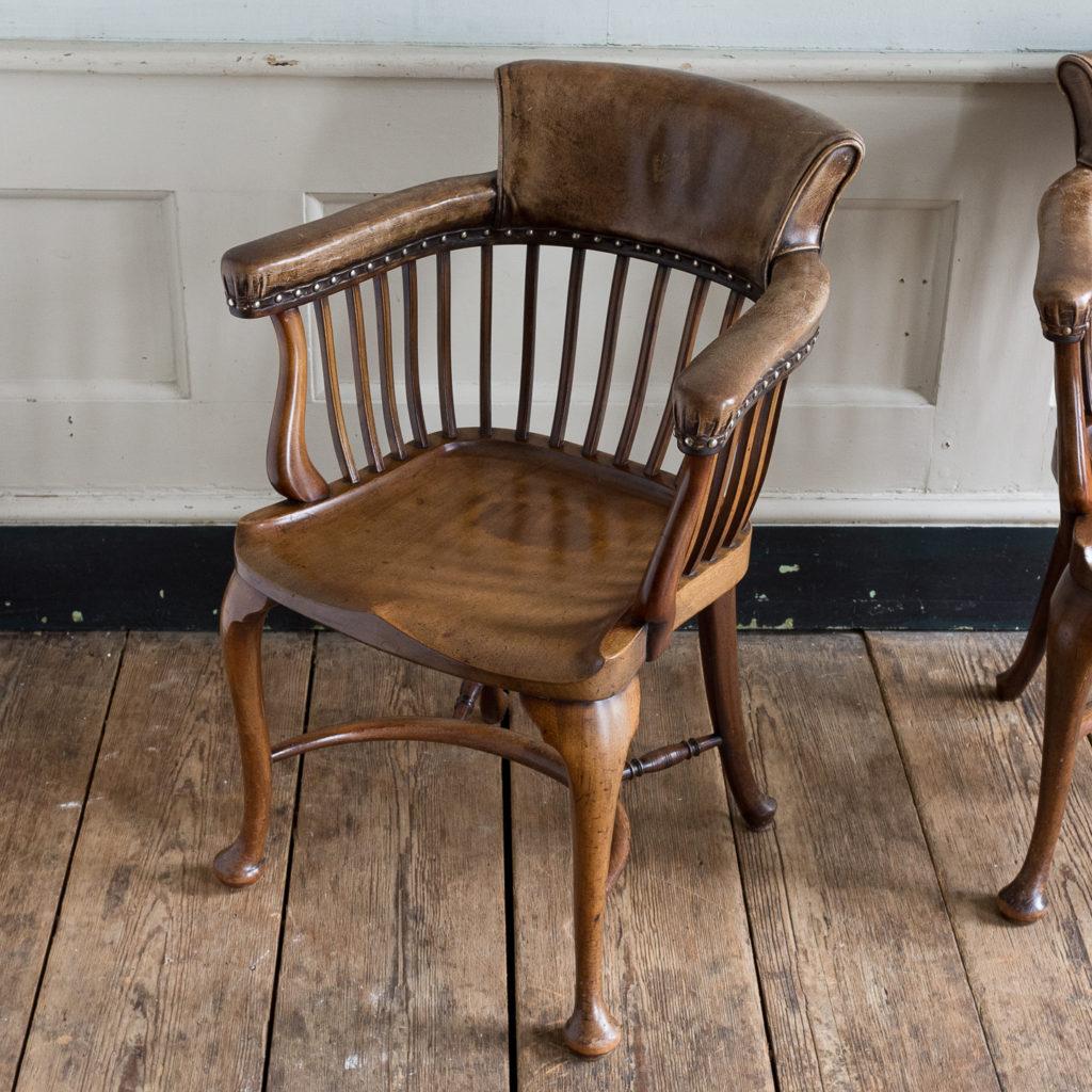 Pair of early twentieth century mahogany library chairs, -138873