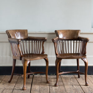 Pair of early twentieth century mahogany library chairs,