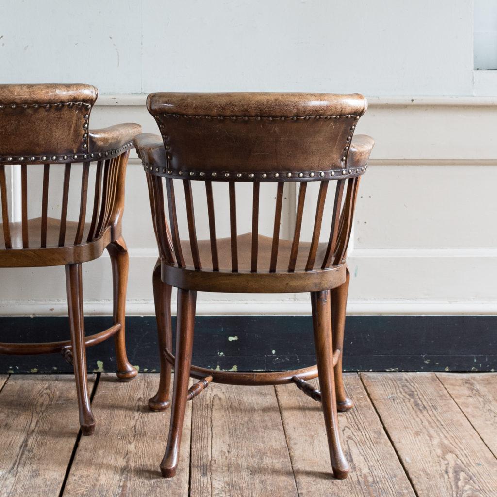 Pair of early twentieth century mahogany library chairs, -138858