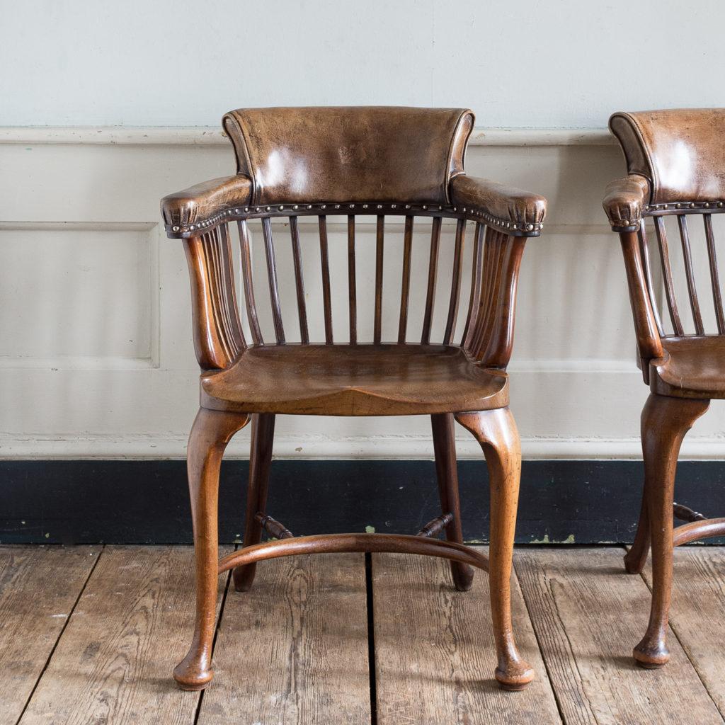 Pair of early twentieth century mahogany library chairs,