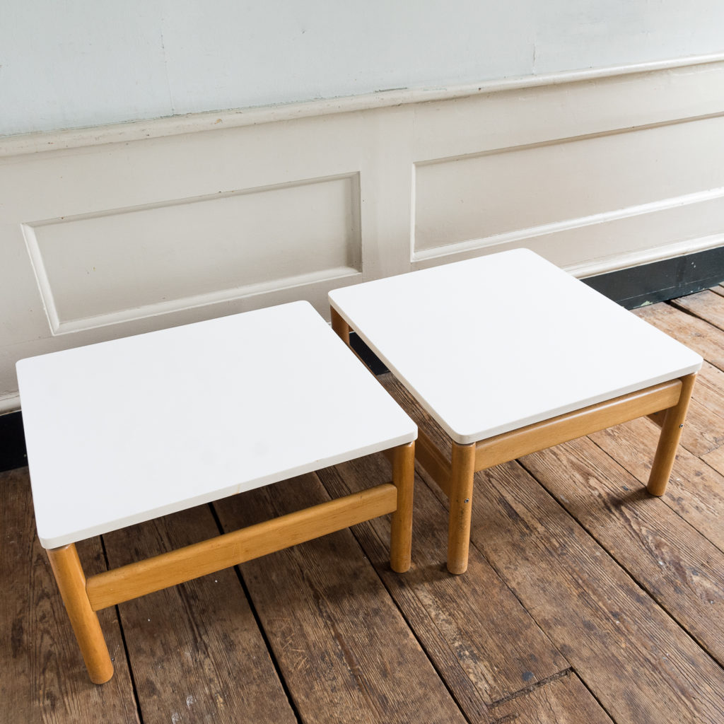 Pair of beech and formica side tables, -139466