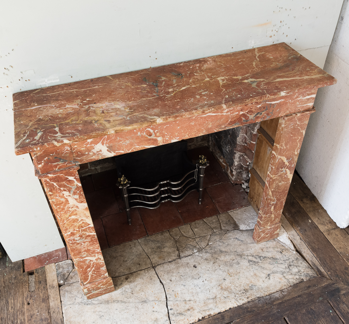 Early twentieth century faux-marble fireplace,-139535