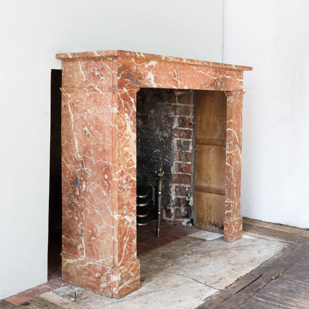 Early twentieth century faux-marble fireplace,-139529