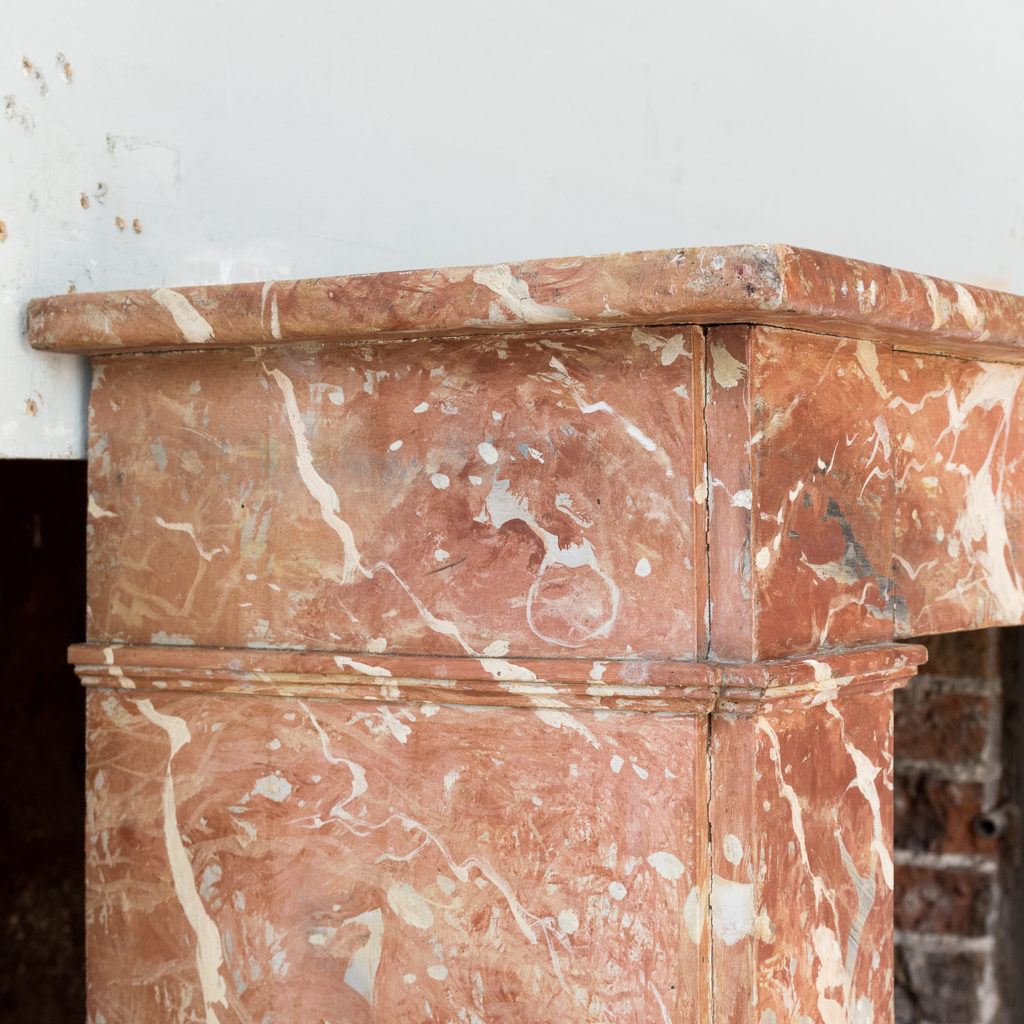 Early twentieth century faux-marble fireplace,-139530