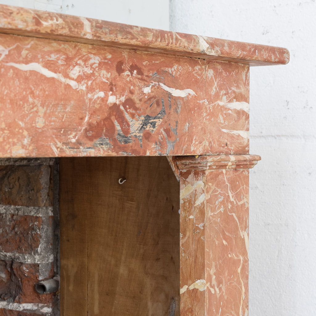 Early twentieth century faux-marble fireplace,-139532