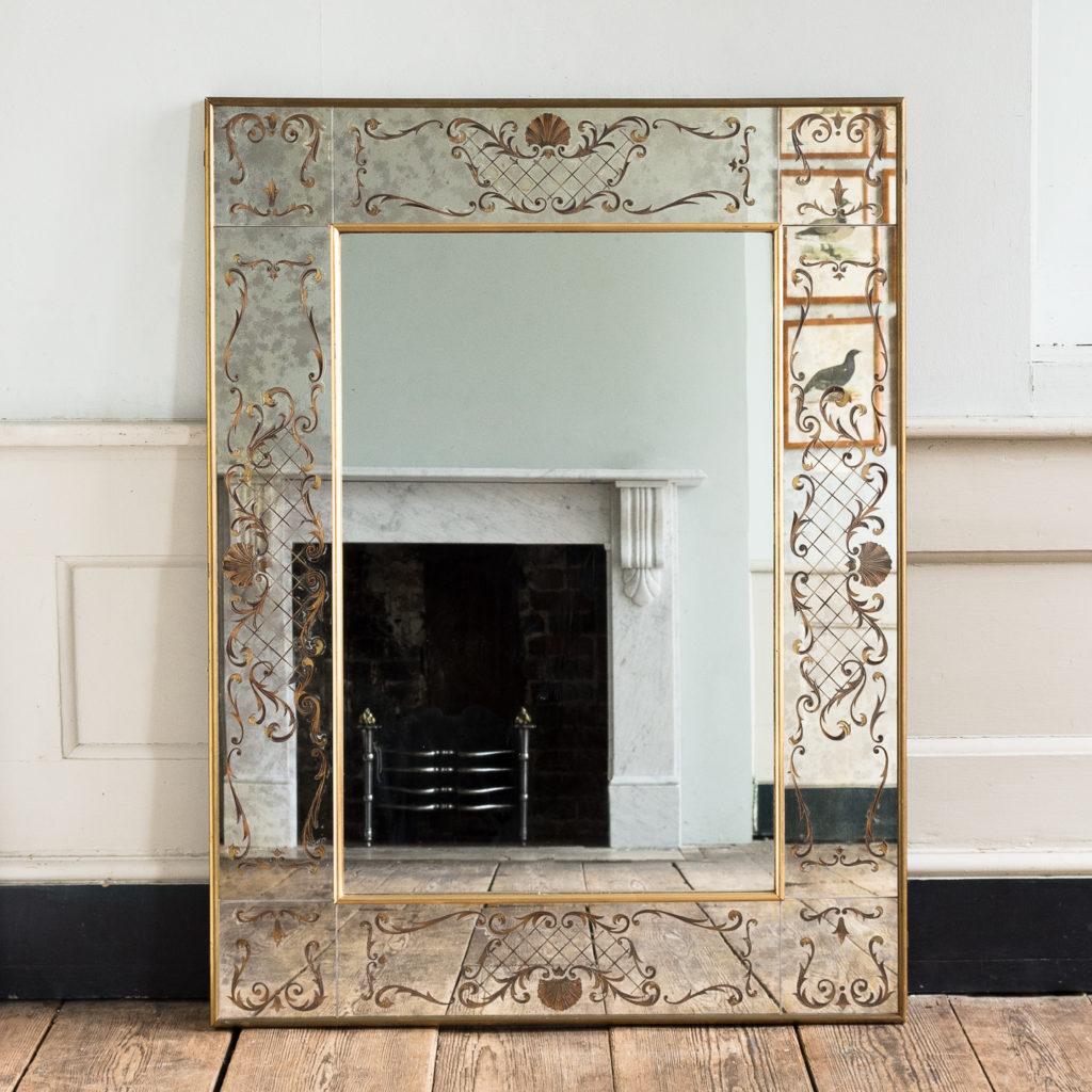 1950s Italian brass bound mirror,