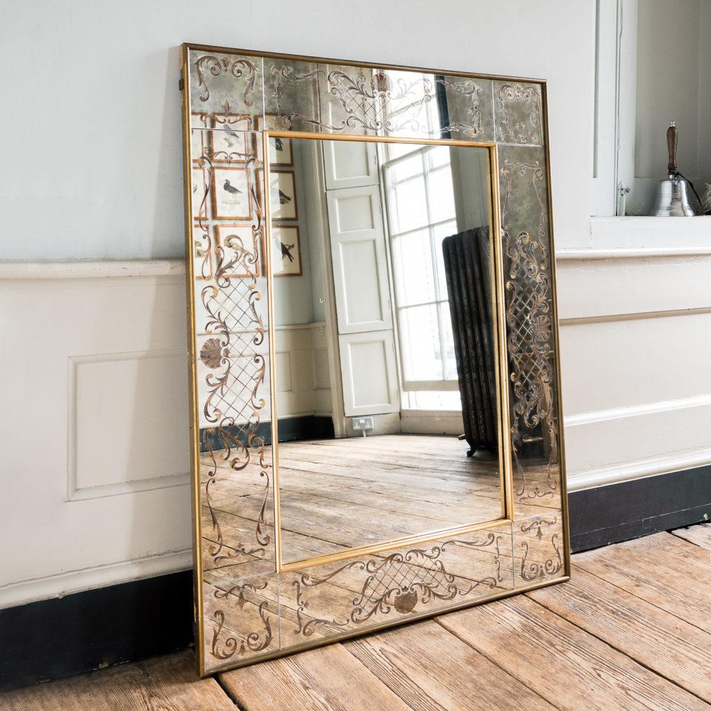 1950s Italian brass bound mirror,-139297