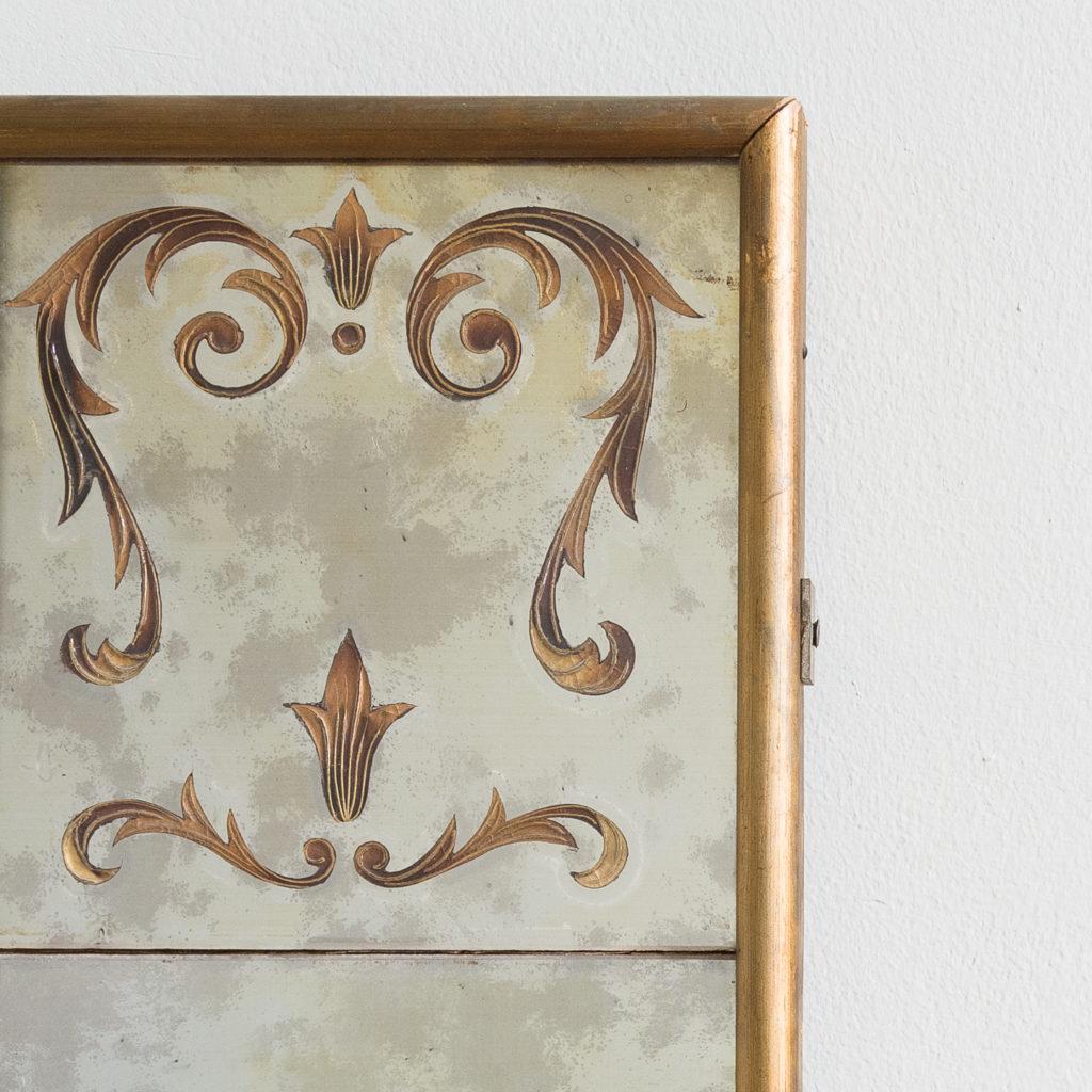 1950s Italian brass bound mirror,-139292