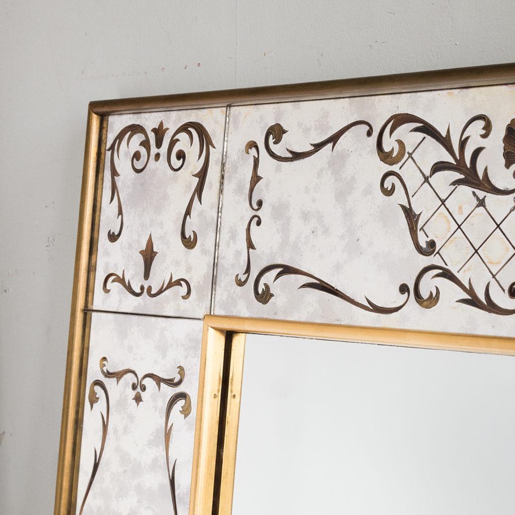 1950s Italian brass bound mirror,-139291