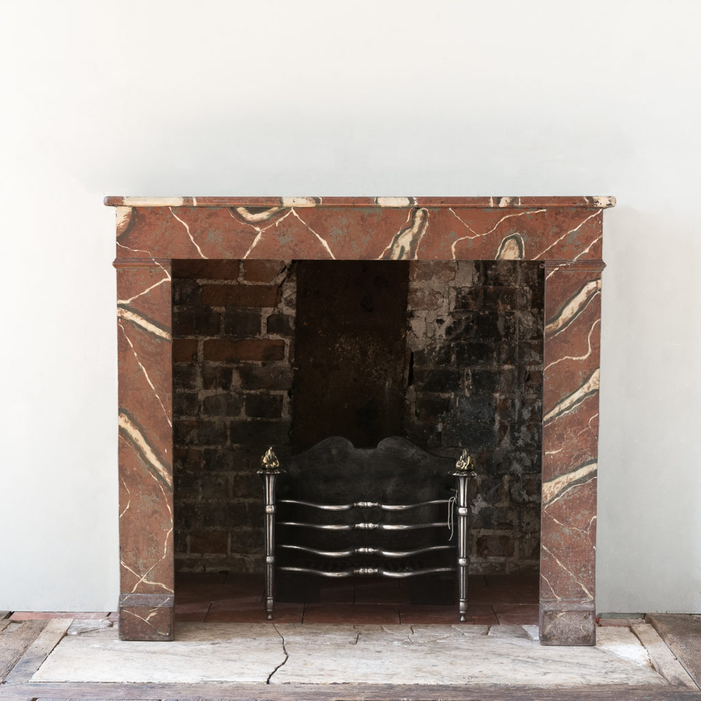 French faux-marble timber fireplace,