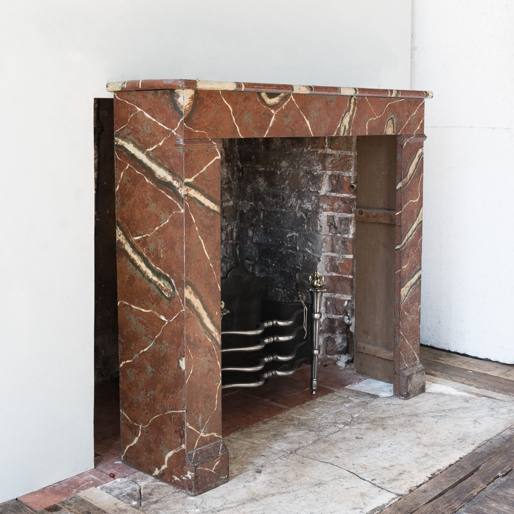 French faux-marble timber fireplace,-139414