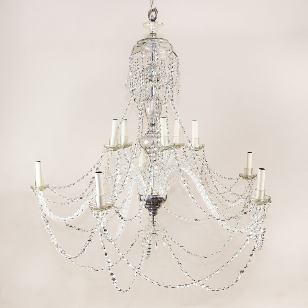 Pair of large French glass eleven light chandeliers,