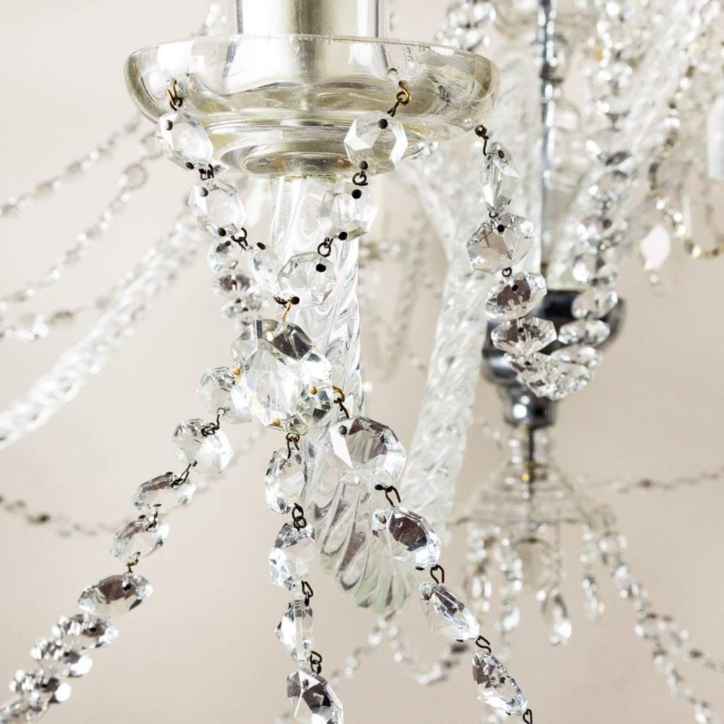 Pair of large French glass eleven light chandeliers,-139088