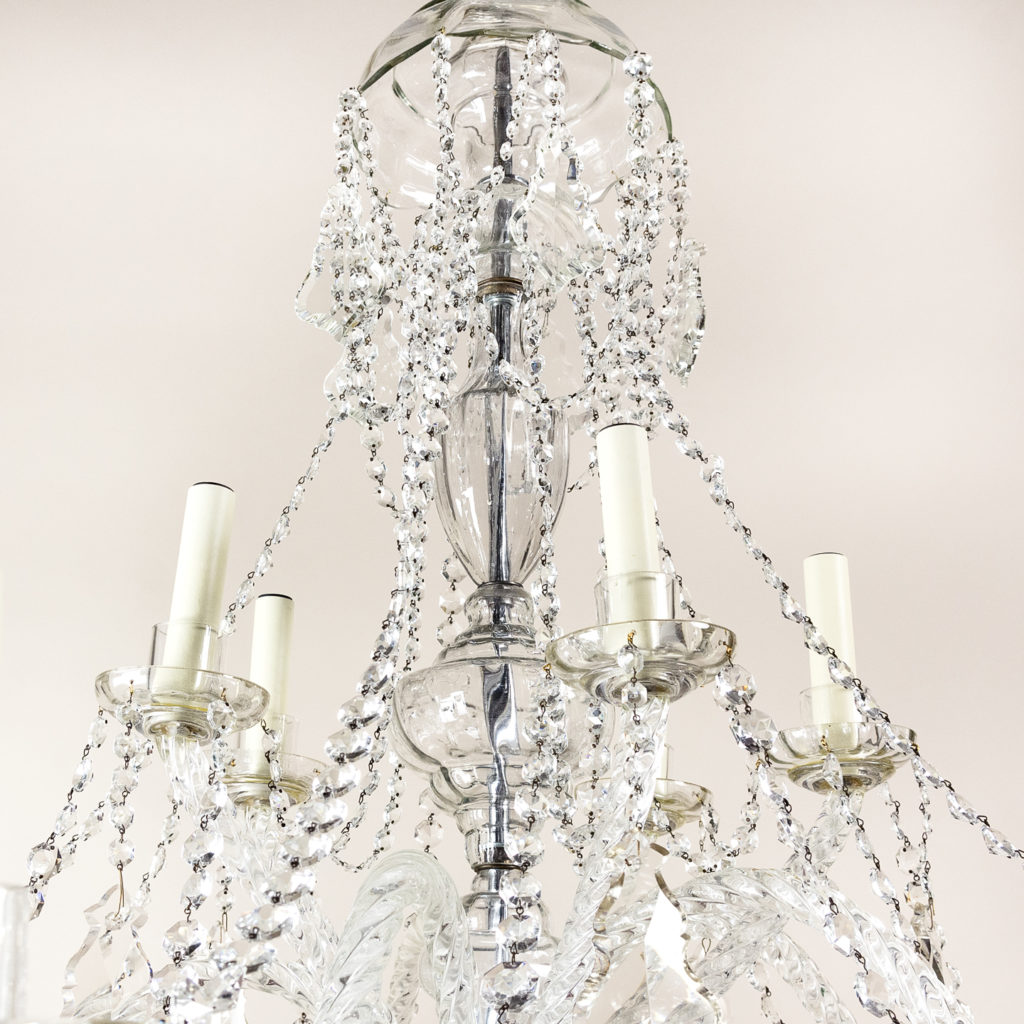 Pair of large French glass eleven light chandeliers,-139089
