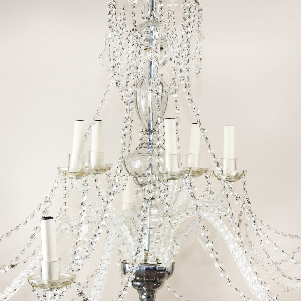 Pair of large French glass eleven light chandeliers,-139080