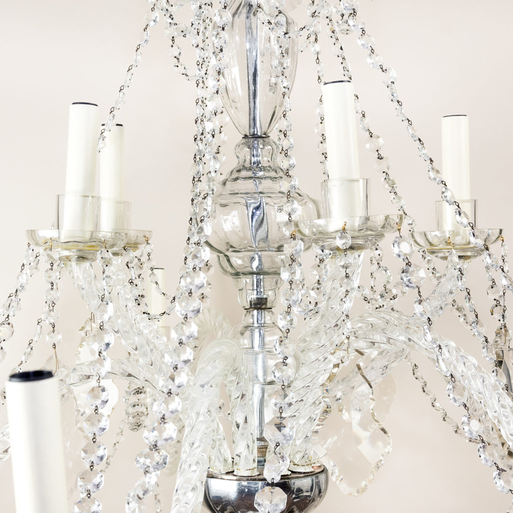 Pair of large French glass eleven light chandeliers,-139082