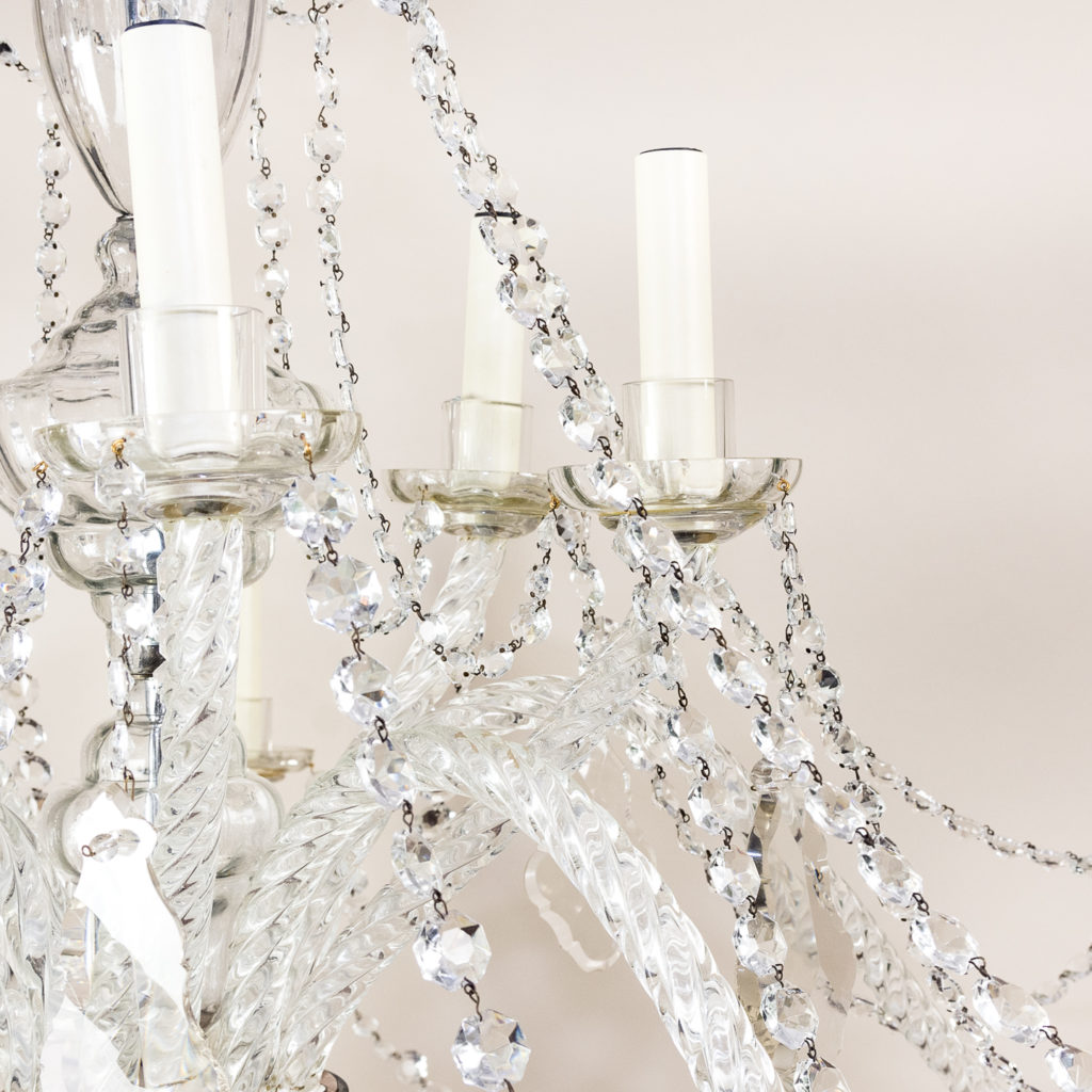 Pair of large French glass eleven light chandeliers,-139083