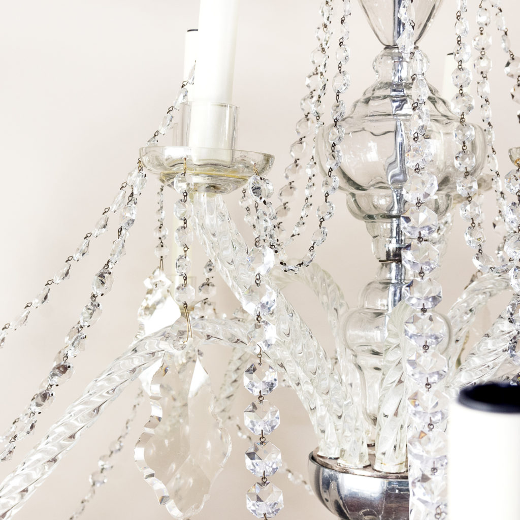 Pair of large French glass eleven light chandeliers,-139085