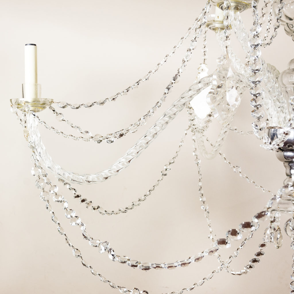 Pair of large French glass eleven light chandeliers,-139087