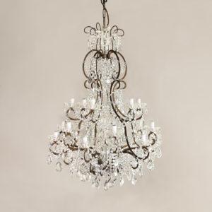Twentieth century Continental eighteen light moulded glass chandelier,