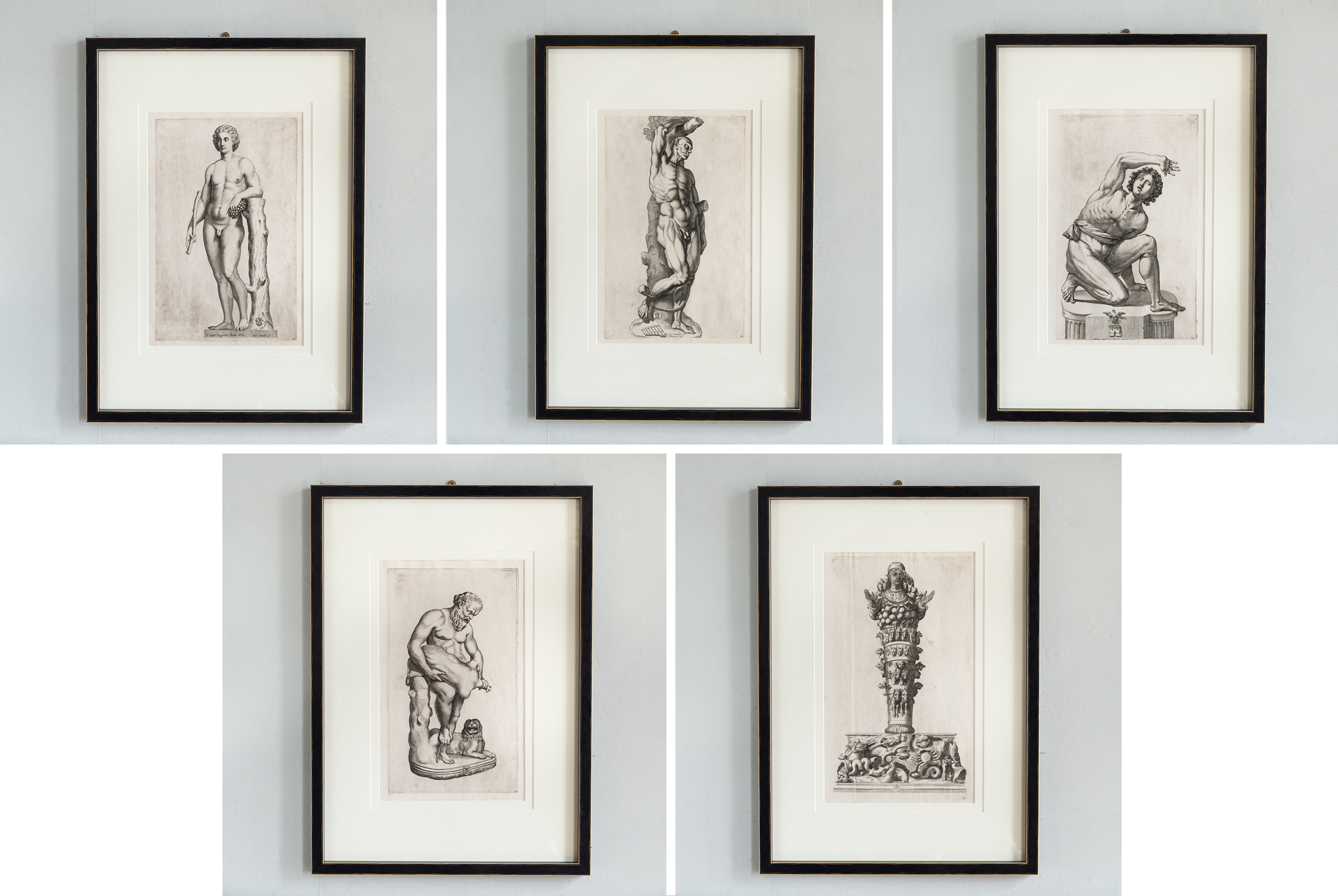 These prints are from a series showing the antique marble statues from the collection of Vincenzo Giustiniana,